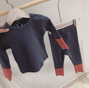 Color Block Pajamas in Gray, Purple & Navy
