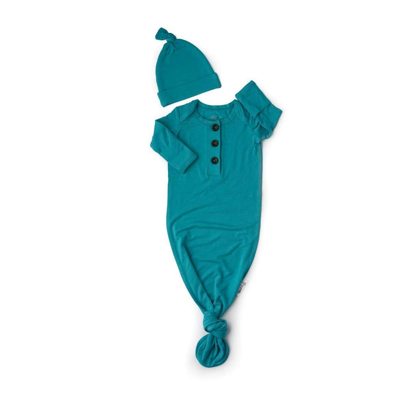 Jude Teal Knotted Newborn Gown + Hat Set