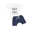 cotton tee shirt with beach vibes print and navy french terry shorts from oh baby