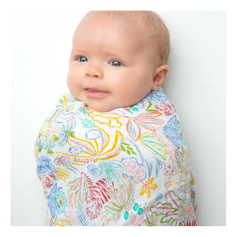 Angel Dear Muslin Cotton Rainbow Rainforest Fiesta Print Swaddle Blanket Tadpoles & Tiddlers Bath Akron Cleveland Ohio