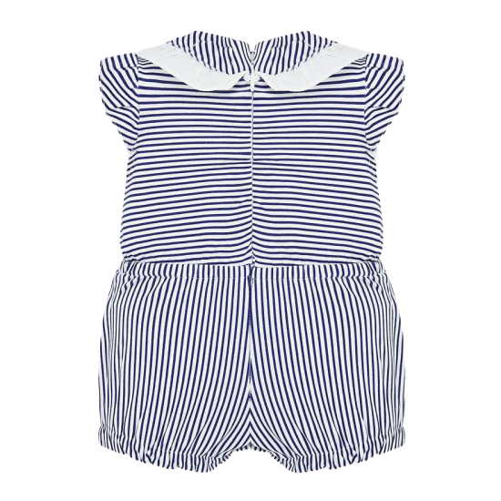 Baby Girl Nautical Stripe Romper Set