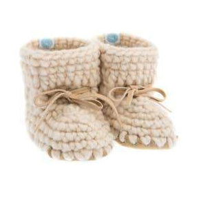 Handmade cozy ivory wool baby sweater moccasins