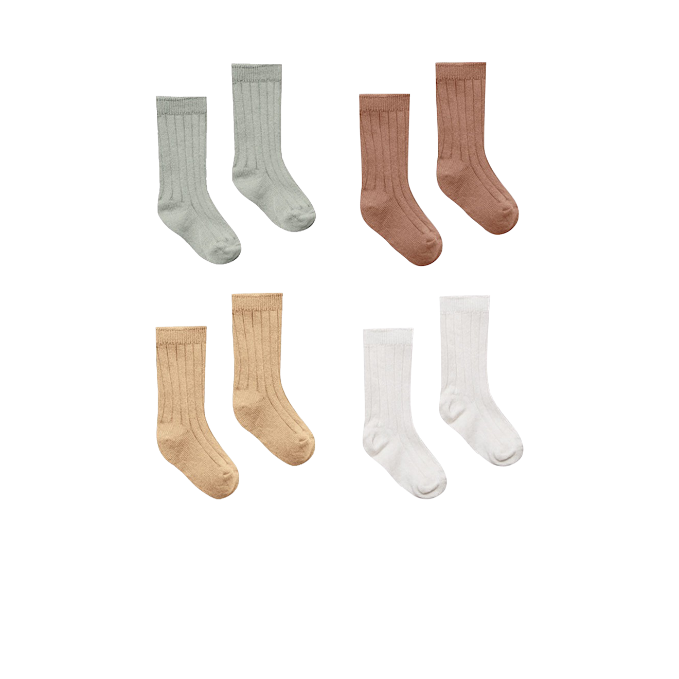 Organic Knit Ribbed Socks 4pack