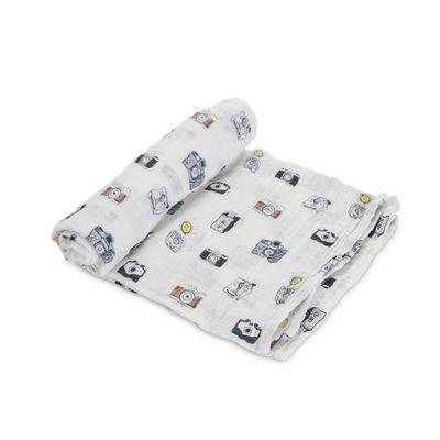 Little unicorn camera print muslin swaddle for babies