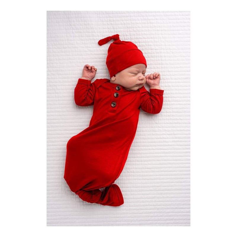 Red Knotted Newborn Gown + Hat Set