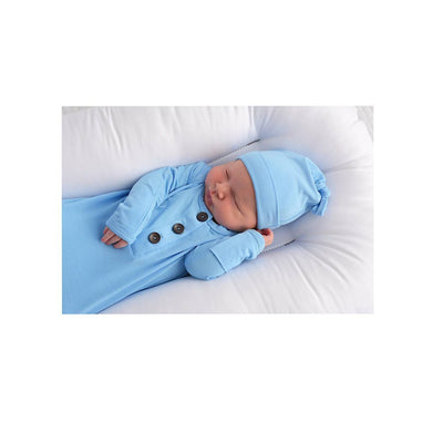 Baby Blue Knotted Newborn Gown + Hat Set