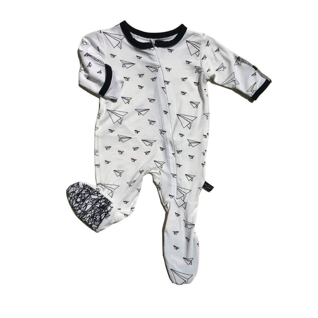 Peregrine black and white paper airplane print infant footie