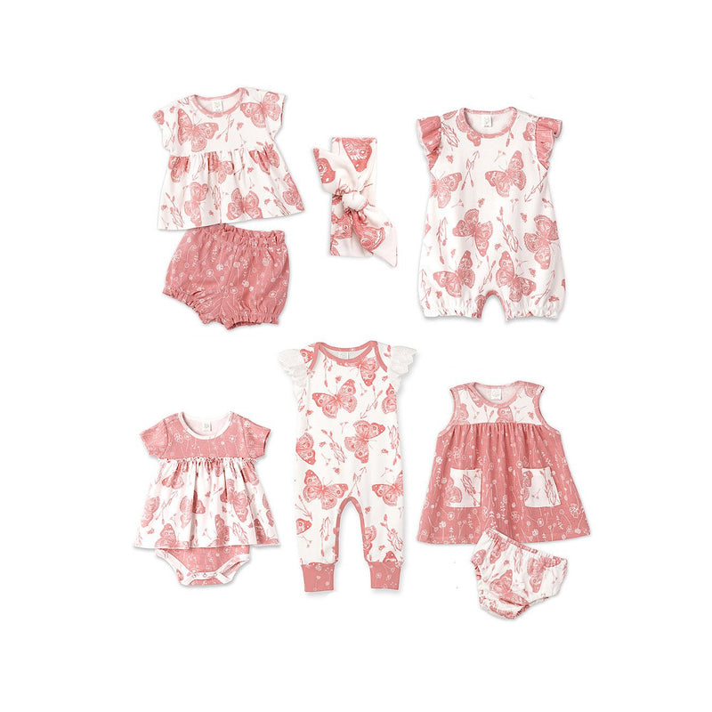 Coral Butterfly Bubble Romper