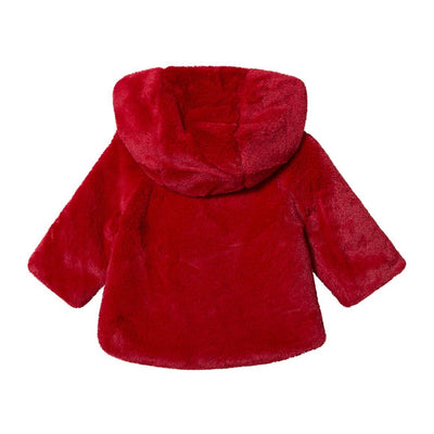 Faux Fur Hooded Coat-Red
