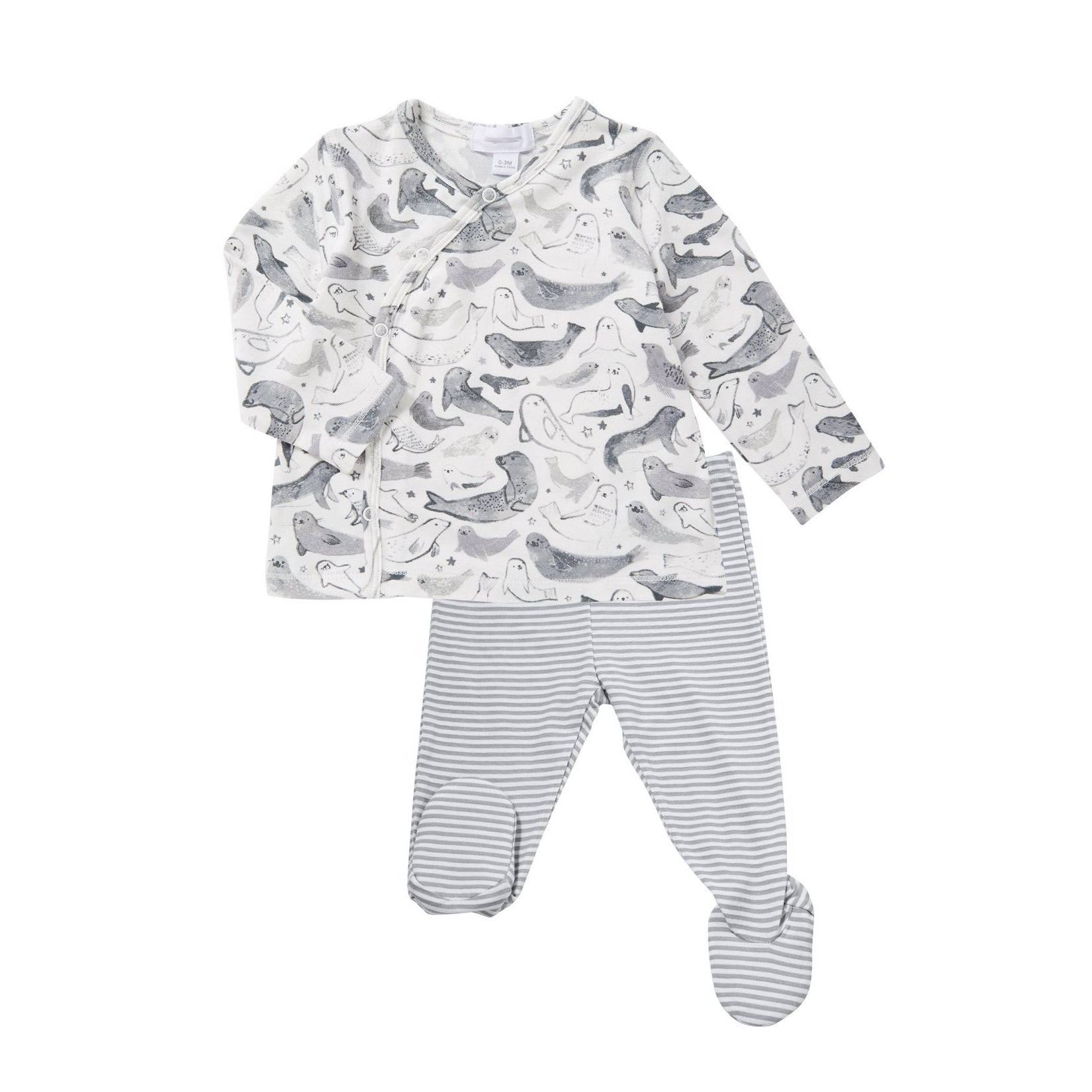 Angel Dear Grey White Seal Layette Bamboo Outfit Set Baby Boy Tadpoles & Tiddlers Akron Cleveland Bath Ohio