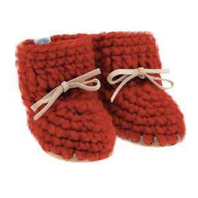 Handmade cozy spice wool baby sweater moccasins