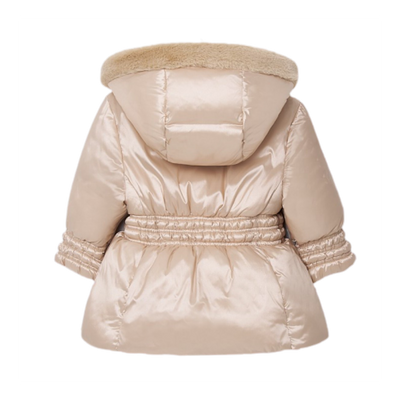 Satin Beige Baby Girl Puffer Coat