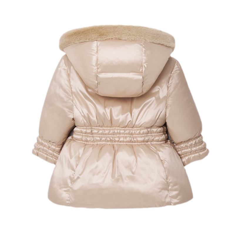 Satin Beige Baby Girl Puff Coat