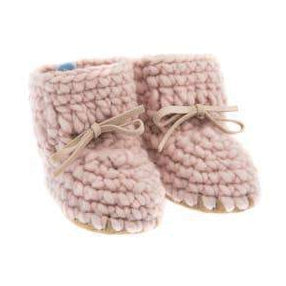 Handmade cozy pink wool baby sweater moccasins