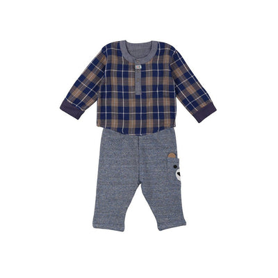 Lilly & sid reversible baby boy 2-piece plaid bear pant set