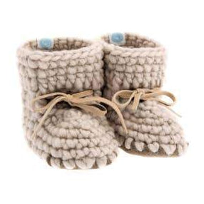 Handmade cozy oatmeal wool baby sweater moccasins