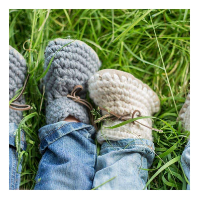 Handmade cozy grey wool baby sweater moccasins