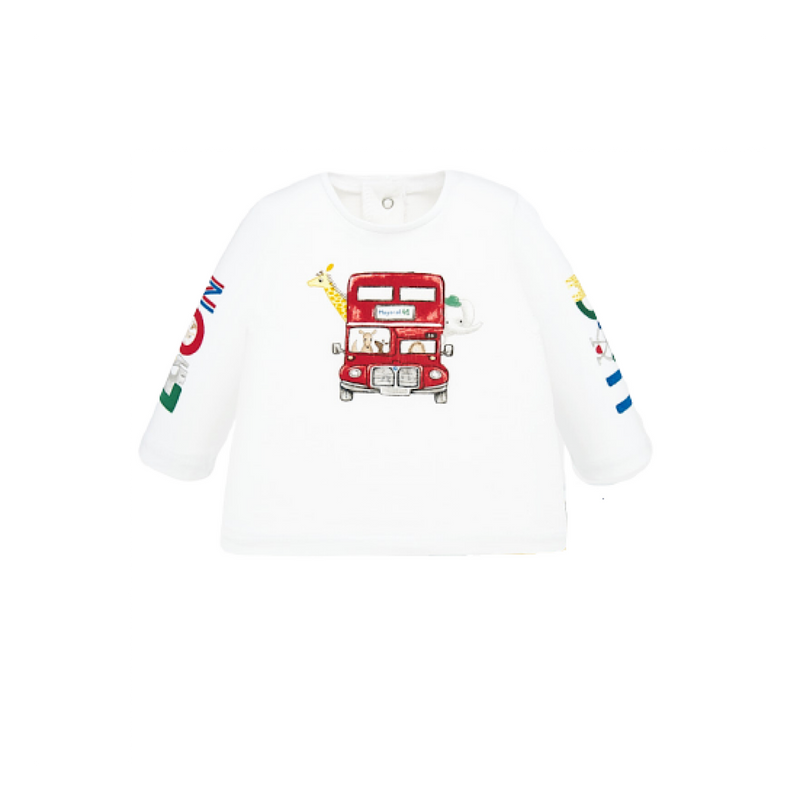 Mayoral white long sleeved t shirt with animal bus graphic fir baby boy