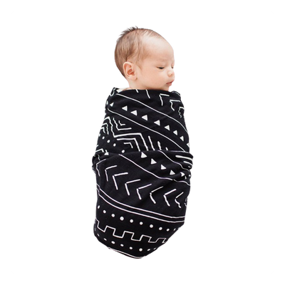 Black Mudcloth Swaddle Blanket