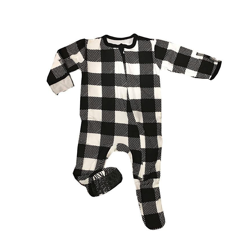 Black Buffalo Check Footie