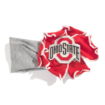 Wee Ones OSU Ohio State University Red Grey Ruffle Headband Accessory Girl Baby Tadpoles & Tiddlers Cleveland Bath Akron Ohio
