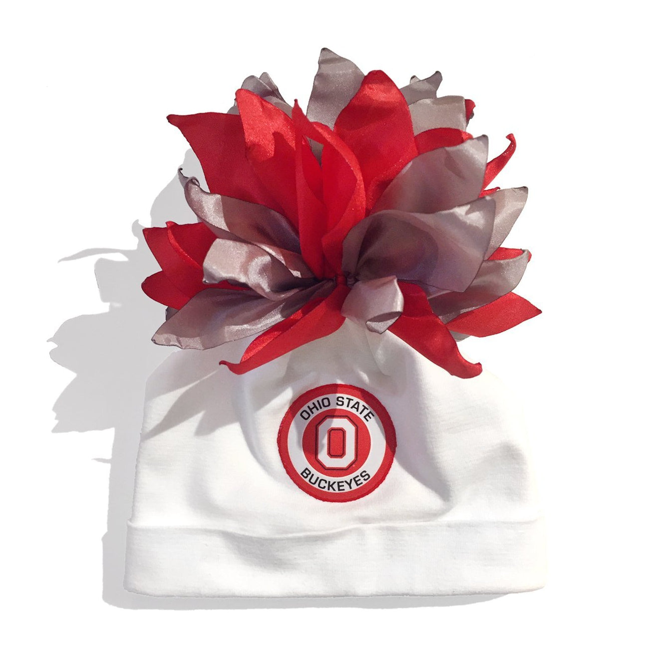 Ohio State University White Buckeyes Pom-Pom Hat