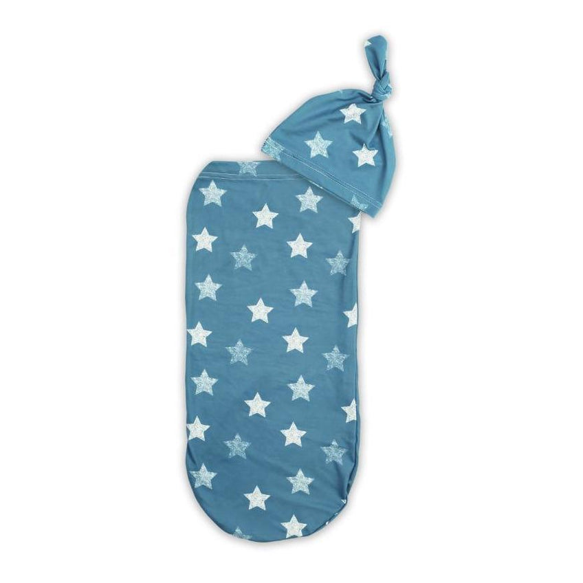 Blue Stars Cutie Swaddle Cocoon + Hat
