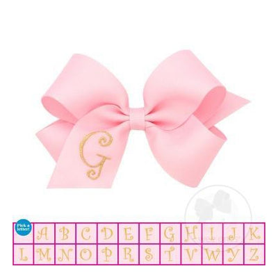Monogram Grosgrain Bow-Pink & Gold