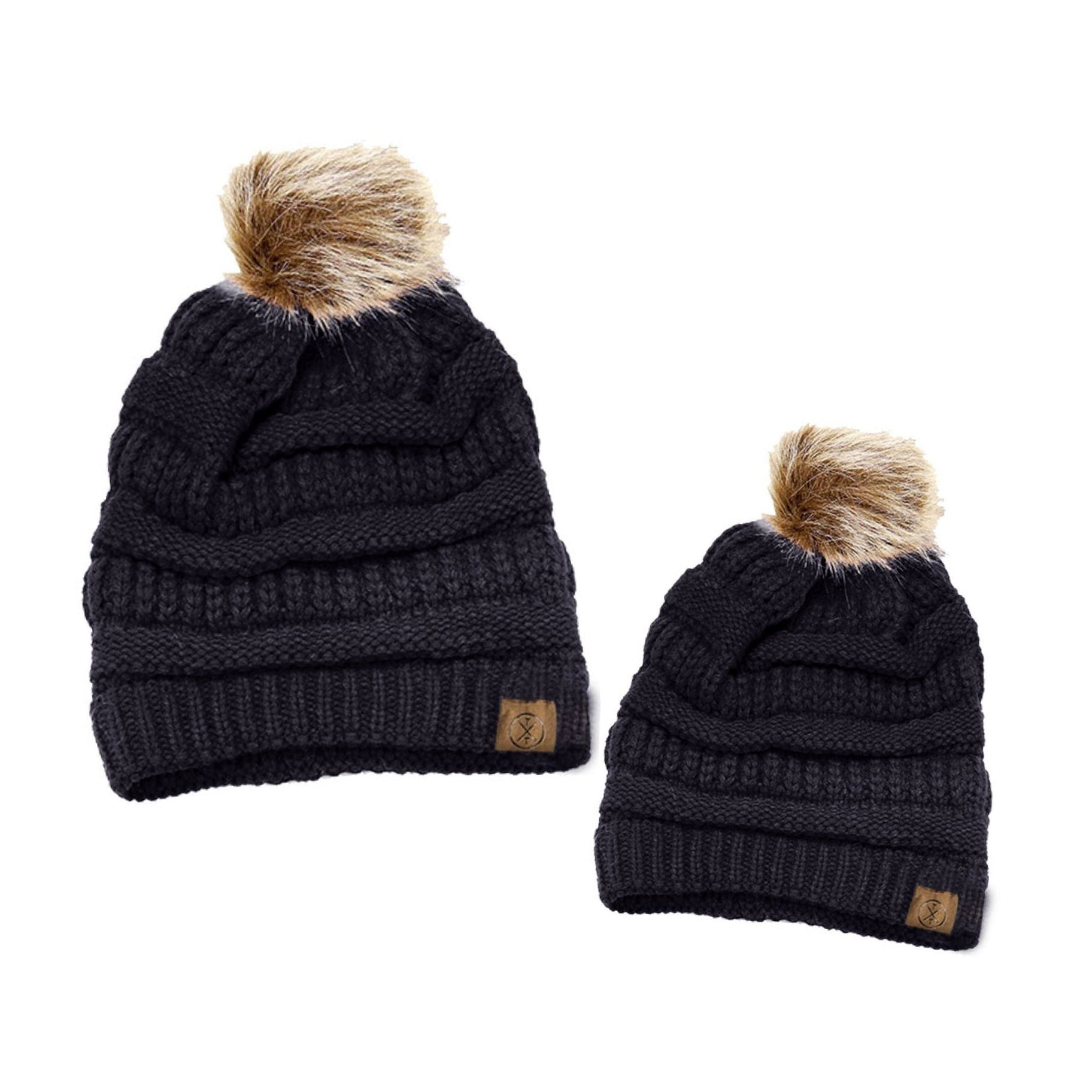 Tiny Trucker Co. Black Ivory Knit Faux Fur Pom Beanie Hat Set Mom Baby Toddler Tadpoles & Tiddlers Cleveland Bath Akron Ohio