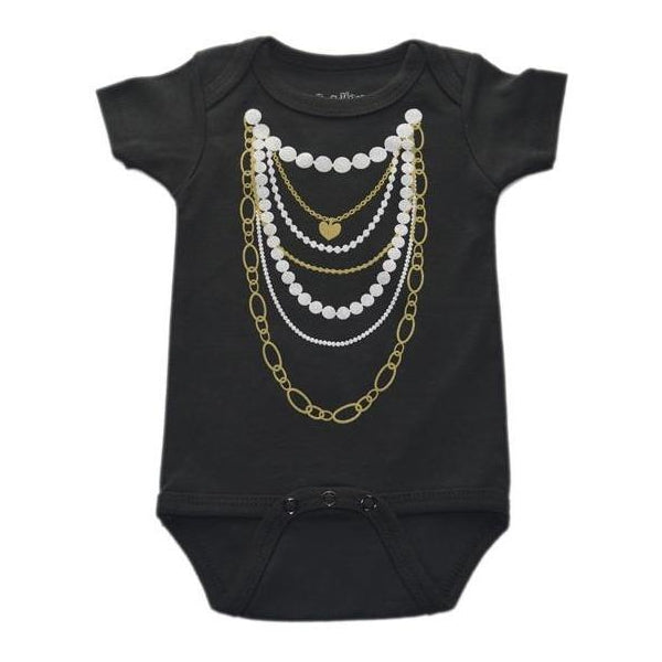 Sara key gold and pearl necklace onesie girl shower