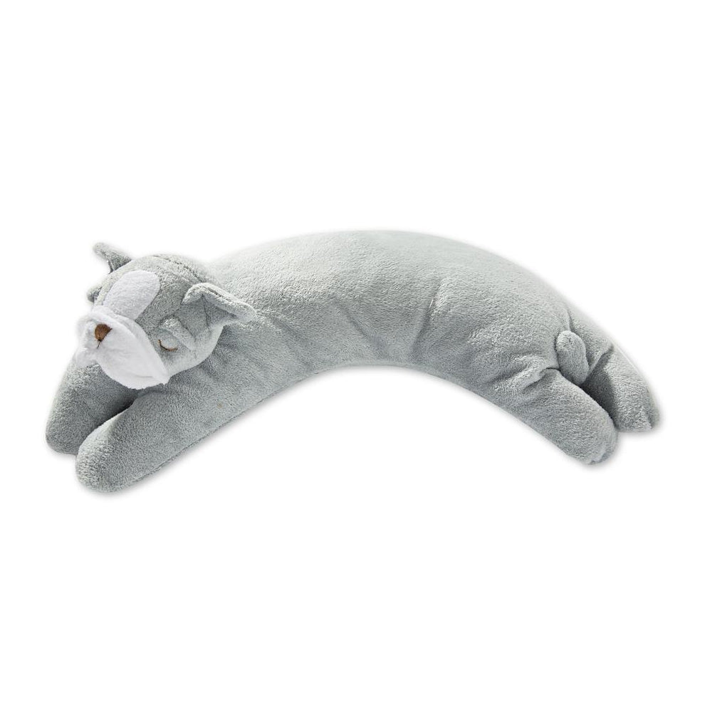 Nestled Bulldog Pillow - Grey