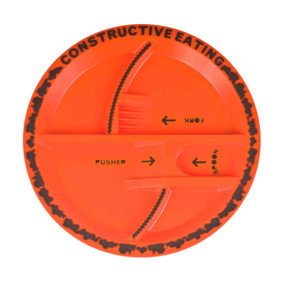 Constructive Eating Orange Construction Site Mealtime Plate