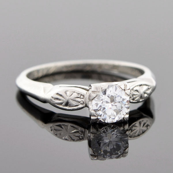 Late Art Deco Platinum & Diamond Engagement Ring .66ct