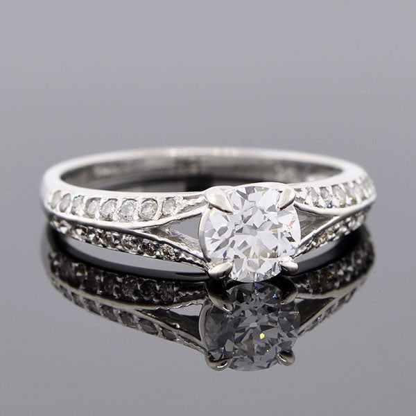 Late Art Deco 14kt Diamond Engagement Ring 0.67ct