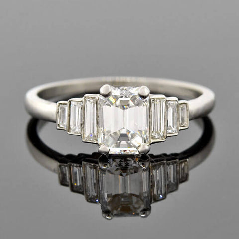 "Art Deco Platinum Emerald Cut Diamond ""Step-Up"" Ring 0.90ct"