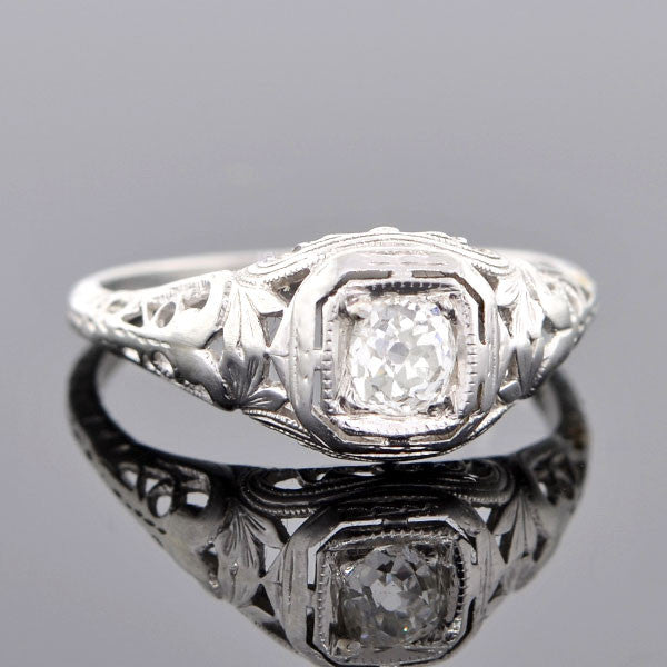 Art Deco Platinum Diamond Engagement Ring 0.26ct
