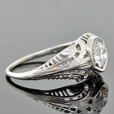 Art Deco 18kt Diamond Engagement Ring 0.47ct