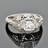 Art Deco 18kt Diamond Engagement Ring 0.28ct