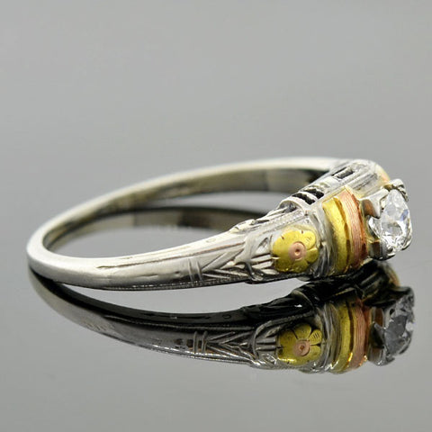 Art Nouveau 18kt Mixed Metals Diamond Engagement Ring 0.22ct