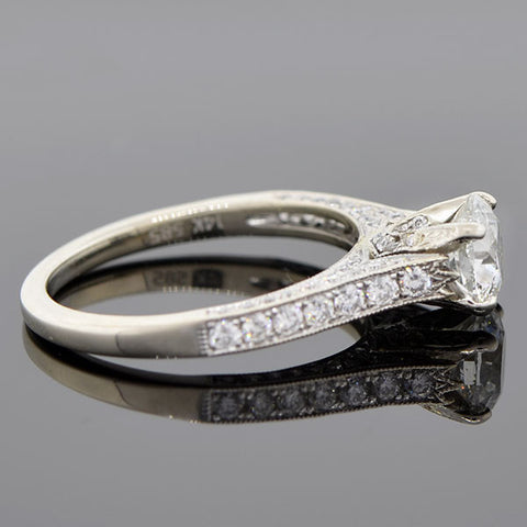 Estate 14kt White Gold Diamond Engagement Ring 1.24ct