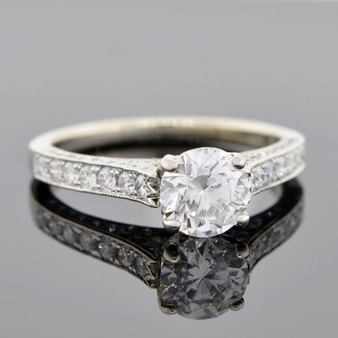 Estate 14kt White Gold Diamond Engagement Ring 1.02ct
