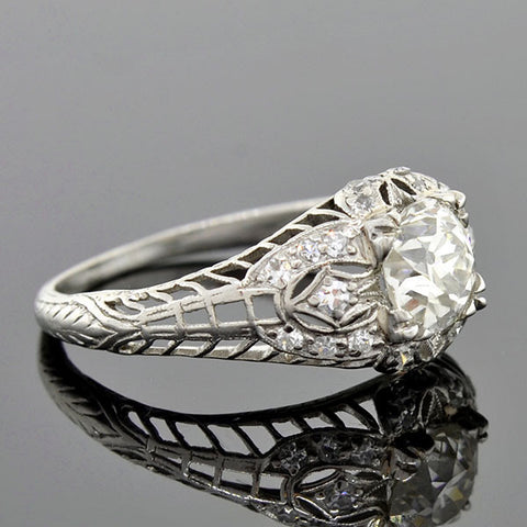 Art Deco Platinum Diamond Engagement Ring 1.26ct