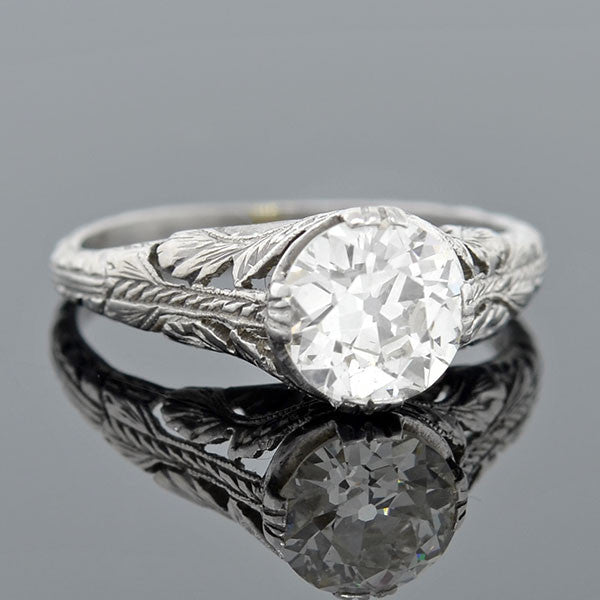 Art Deco Platinum Diamond Engagement Ring 1.08ct