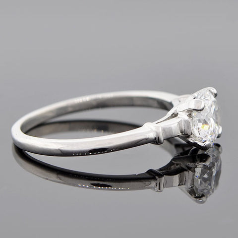 Retro Platinum Diamond Engagement Ring 1.01ctw