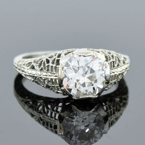 Art Deco 18kt Diamond Engagement Ring 1.32ctw