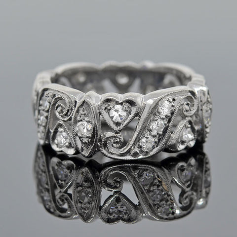 Late Art Deco Platinum Diamond Band Ring 1.35ctw