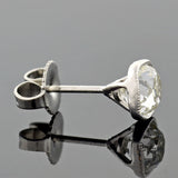 Art Deco Platinum Cushion Cut Diamond Stud Earrings 1.50ctw