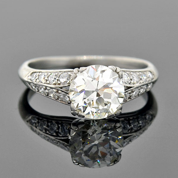Art Deco Platinum Diamond Engagement Ring 1.69ct