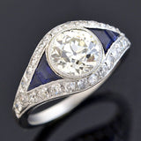 Art Deco French Platinum Diamond + Sapphire Ring 1.76ct
