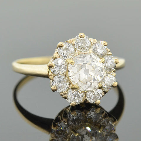 Victorian 18kt Diamond Cluster Ring 1.90ctw